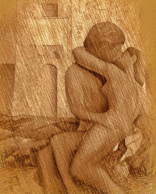 Lovers Kissing Poster featuring the drawing Lovers Kissing by John Malone